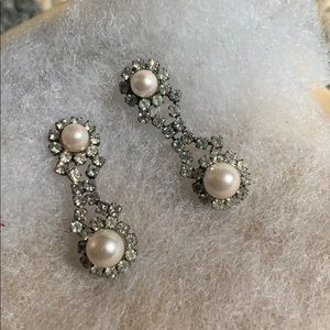 Pearly and diamond drop earrings